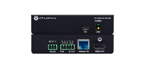 Atlona AT-UHD-EX-70C-RX AV extender AV receiver Black