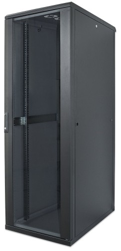 "Intellinet 19"" Network Rack, 26U, 1322 (h) x 600 (w) x 800 (d) mm, IP20-rated housing, Max 1500kg, Flatpack, Black"