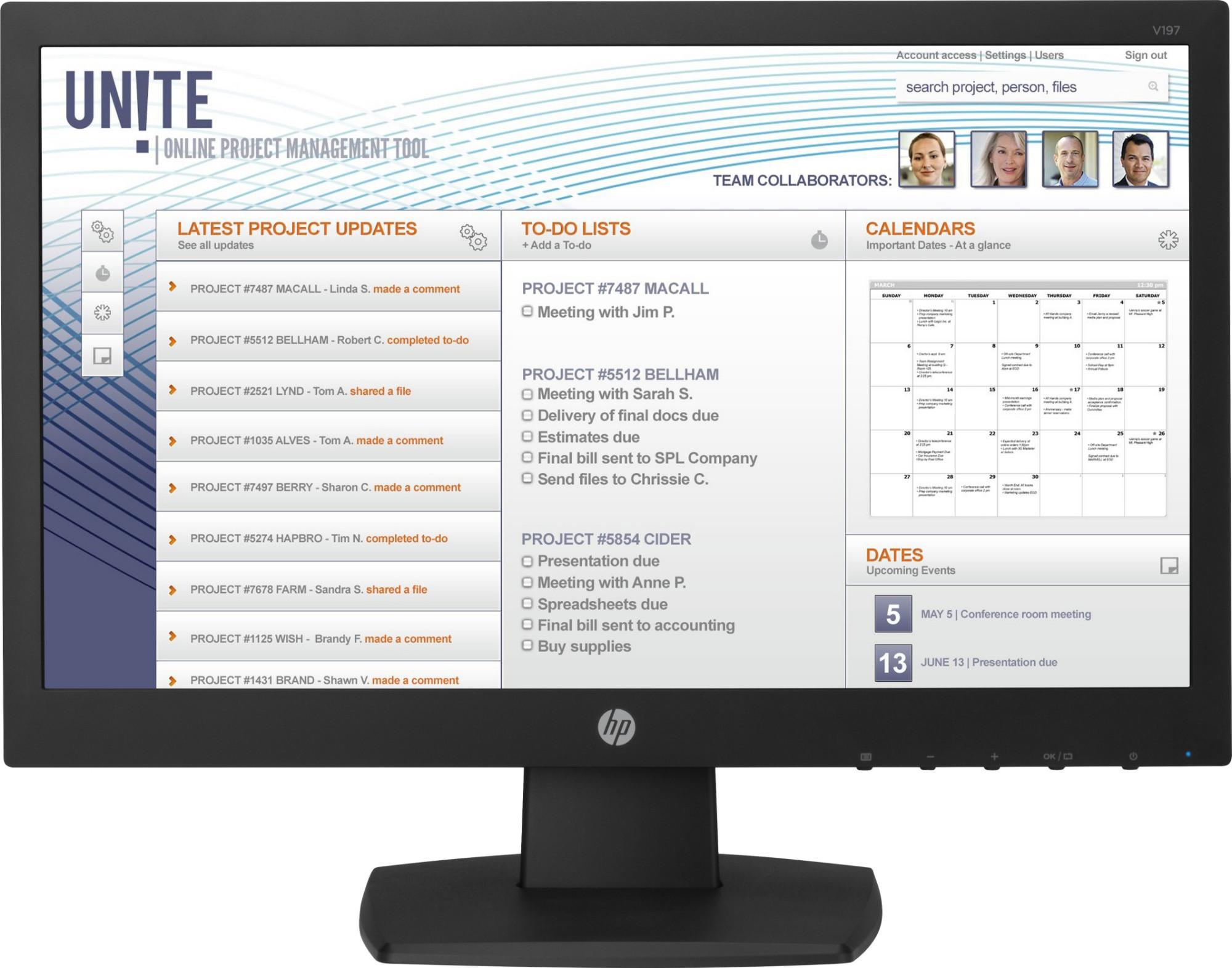 "HP V197 18.5"" LED Black computer monitor"