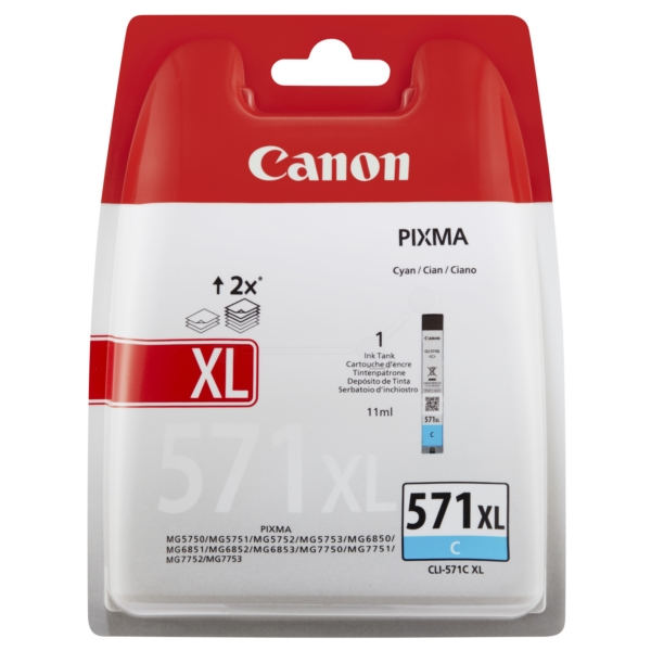 Canon 0332C004 (CLI-571 CXL) Ink cartridge cyan, 680 pages, 11ml