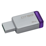 Kingston Technology DataTraveler 50 8GB USB flash drive 3.0 (3.1 Gen 1) USB Type-A connector Purple, Silver