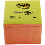Post-It 3M POSTIT Z-NOTE 76X76MM NEON PNK YLW P6