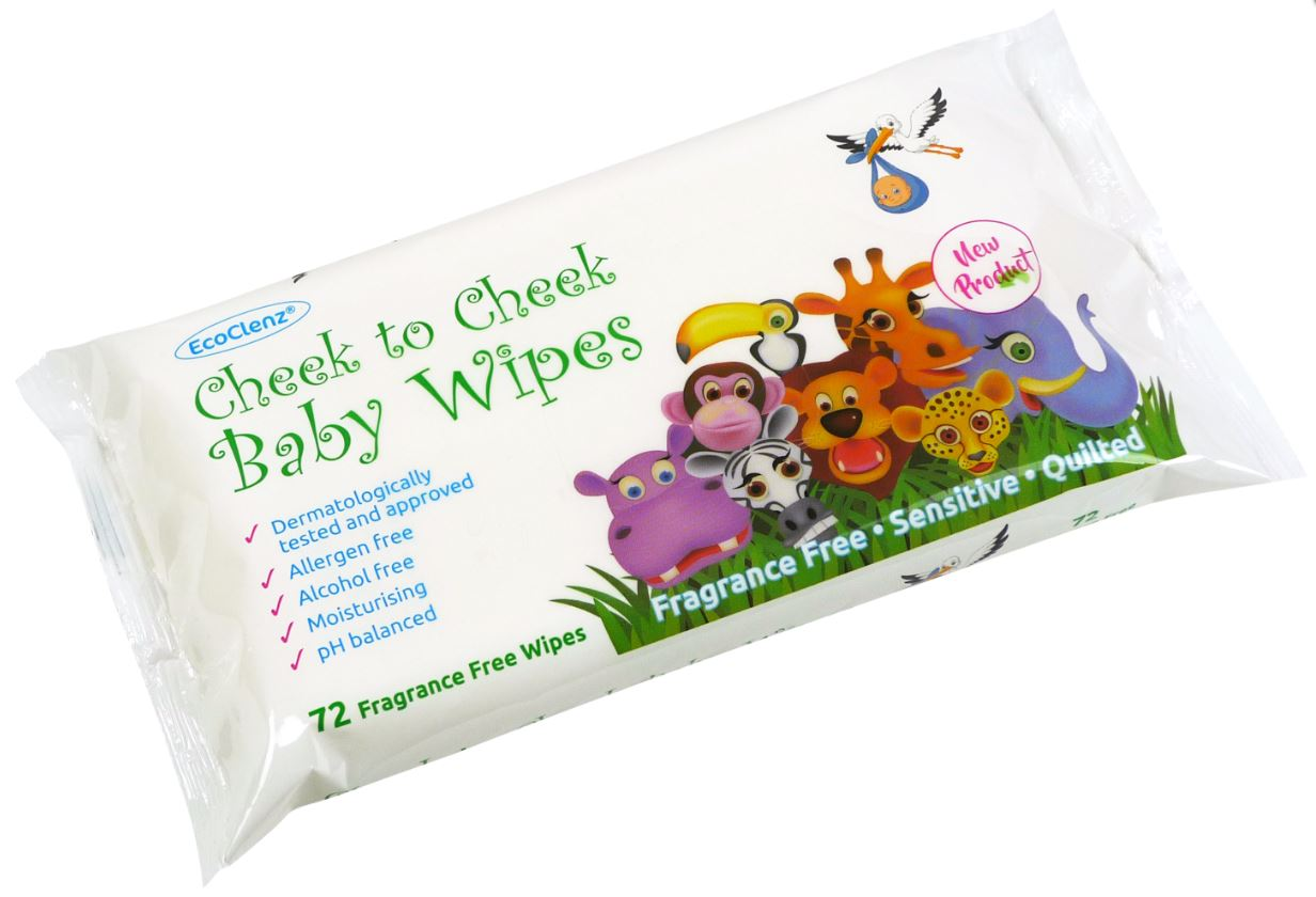 EcoClenz Sensitive Baby Wipes Fragrance Free Flowpack of 60