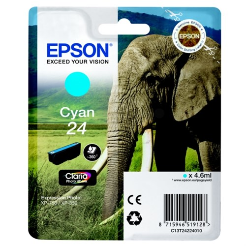 Epson C13T24224012 (24) Ink cartridge cyan, 360 pages, 5ml