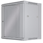 """Intellinet Network Cabinet, Wall Mount (Standard), 12U, 450mm Deep, Grey, Flatpack, Max 60kg, Metal & Glass Door, Back Panel, Removeable Sides, Suitable also for use on a desk or floor, 19"""", Three Year Warranty"""