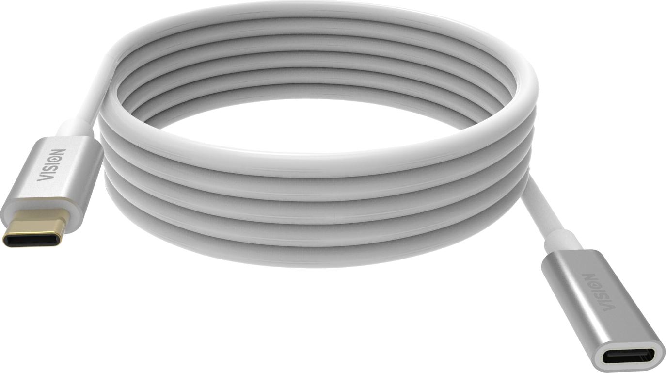 Vision TC 2MUSBCEXT cable USB 2 m 3.2 Gen 2 (3.1 Gen 2) USB C Blanco