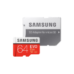 Samsung Micro SDXC 64GB EVO Plus /w Adapter UHS-1 SDR104, Class 10, Grade 1 (U3), Up to 100MB/s read, 60MB/s