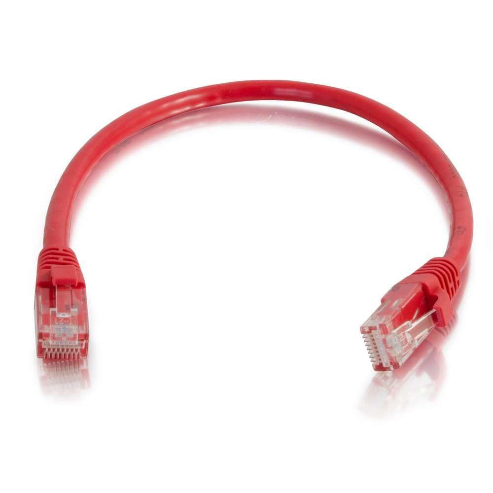 C2G Cable de conexión de red de 0,5 m Cat6 sin blindaje y con funda (UTP), color rojo