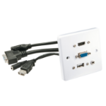 Lindy 60220 socket-outlet HDMI + VGA + USB A + 3.5mm White