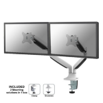 """Newstar Full Motion Dual Desk Mount (clamp & grommet) for two 10-32"""" Monitor Screens, Height Adjustable (gas spring) - White"""