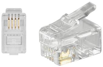 RJ10 Modular Plug. F/FlatCables. 4/4. 10pcs