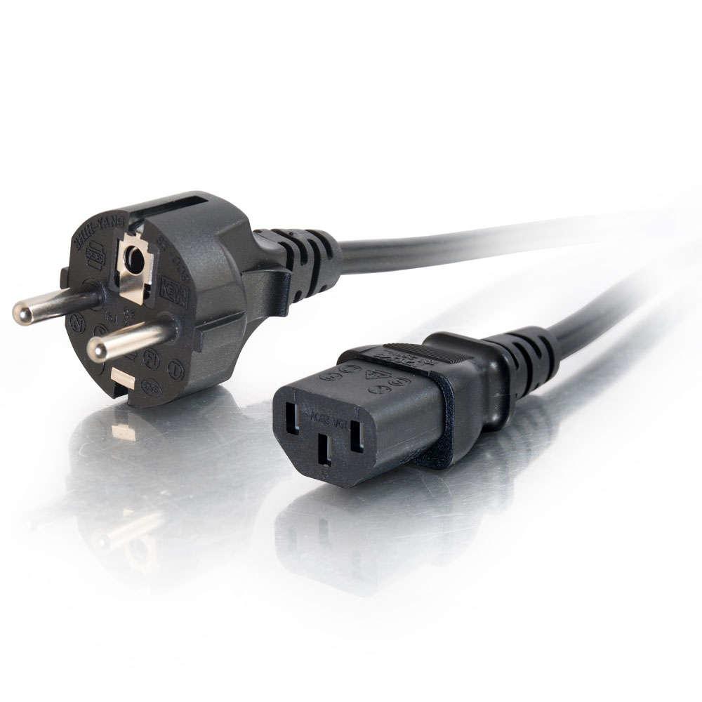 C2G Cable de alimentación europeo 16 AWG de 1 m (IEC320C13 a CEE7/7)