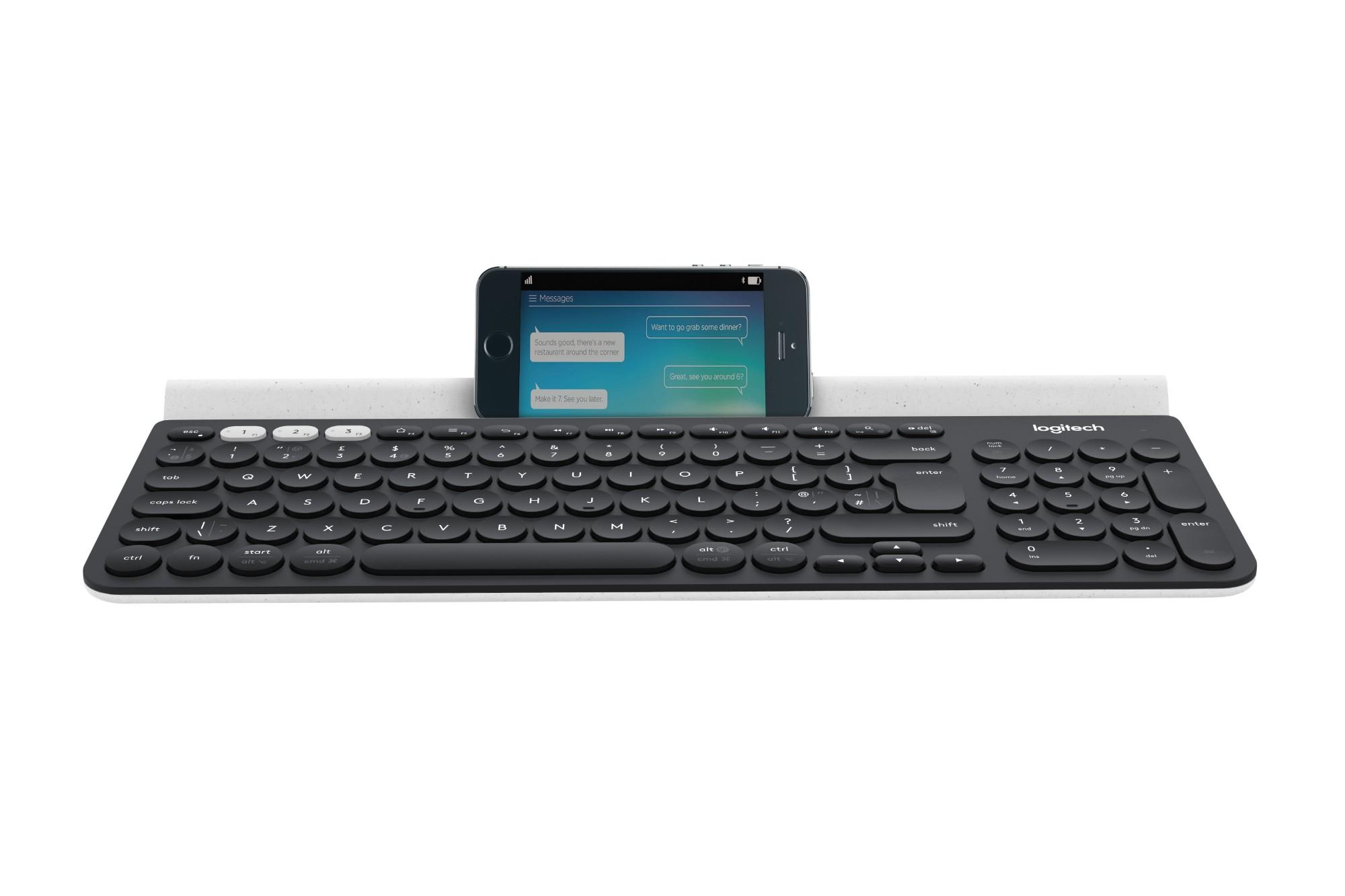 Logitech K780 keyboard RF Wireless + Bluetooth QWERTY UK English Grey, White