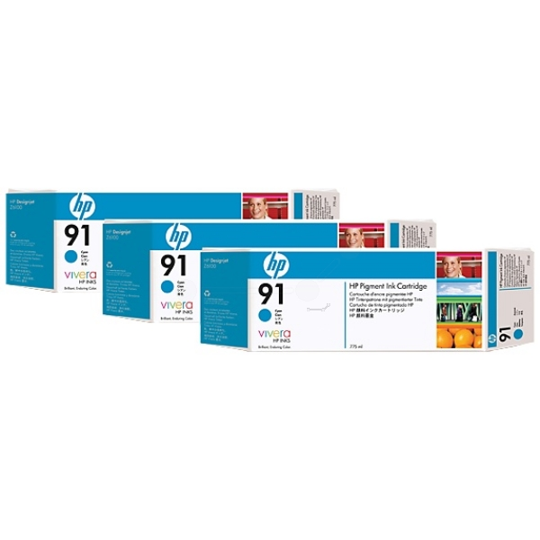 HP C9483A (91) Ink cartridge cyan, 775ml, Pack qty 3
