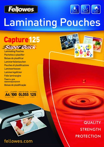 Fellowes SuperQuick A4 Glossy 125 Micron Laminating Pouch