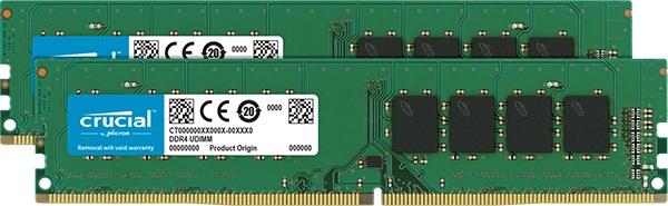 Crucial - DDR4 - 8 GB: 2 x 4 GB - DIMM 288-pin - 3200 MHz / PC4-25600 - CL22 - 1.2 V - unbuffered -