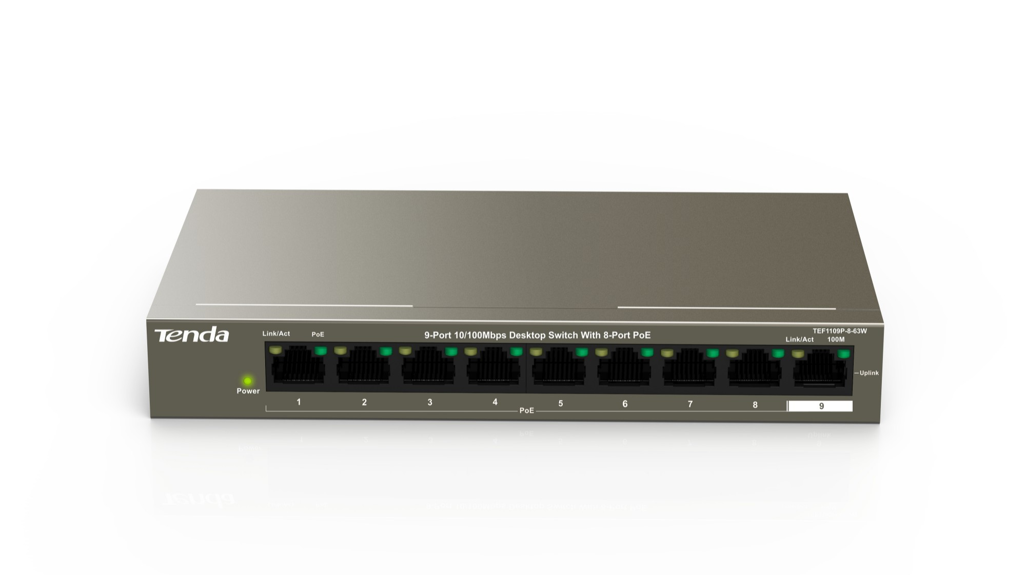Tenda TEF1109P-8-63W Fast Ethernet (10/100) Negro Energía sobre Ethernet (PoE)