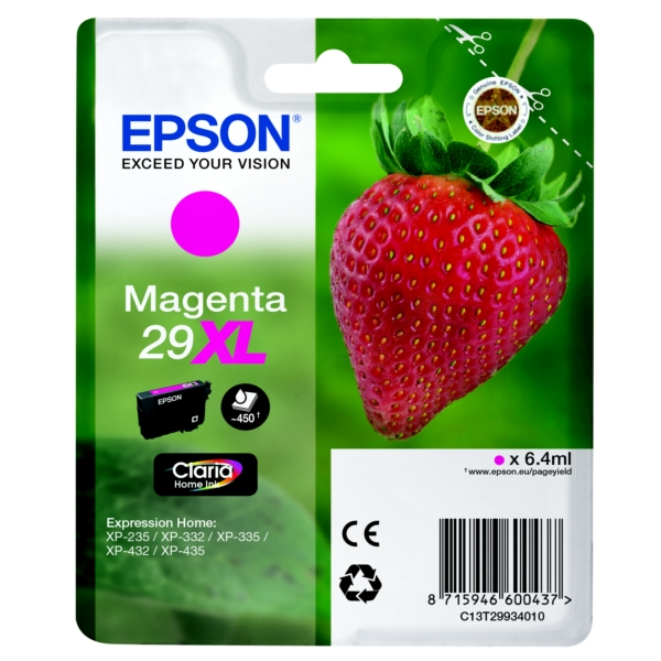 Epson C13T29934010 (29XL) Ink cartridge magenta, 450 pages, 6ml