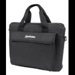 "Manhattan London Laptop Bag 12.5"", Top Loader, Accessories Pocket, Shoulder Strap (removable), Notebook Case, Black, Three Year Warranty"