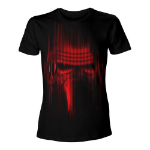 STAR WARS VII The Force Awakens Adult Male Distressed Red Kylo Ren T-Shirt, Large, Black (TS204397STW-L)