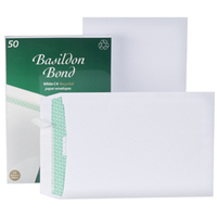 Basildon Envelopes Recycled Pocket Peel and Seal 120gsm C4 White Ref L80281 [Pack 50]