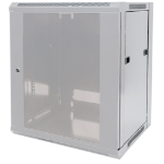 """Intellinet Network Cabinet, Wall Mount (Standard), 9U, 450mm Deep, Grey, Flatpack, Max 60kg, Metal & Glass Door, Back Panel, Removeable Sides, Suitable also for use on a desk or floor, 19"""", Parts for wall installation not included, Three Year Warranty"""