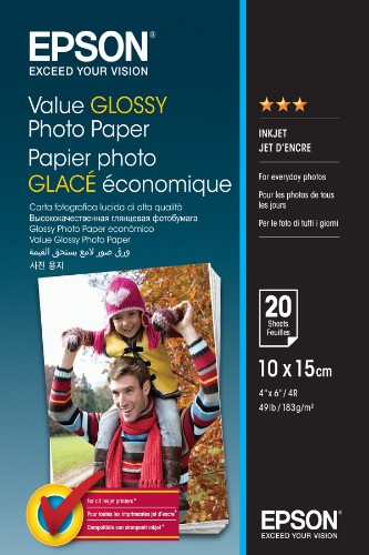 Epson Value Glossy Photo Paper - 10x15cm - 20 sheets
