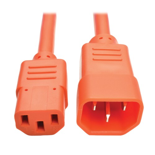 Tripp Lite Standard Computer Power Extension Cord, 10A, 18 AWG (IEC-320-C14 to IEC-320-C13), Orange, 1.83 m