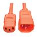 Tripp Lite Standard Computer Power Extension Cord, 10A, 18 AWG (IEC-320-C14 to IEC-320-C13), Orange, 1.83 m
