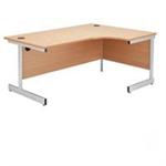 Jemini Oak/Silver 1800mm Right Hand Radial Cantilever Desk KF838055