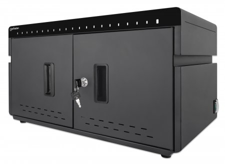 Manhattan Charging Cabinet via USB-C x20 Devices, Desktop, Power Delivery 3A/18W per port (360W total), Suitable for iPads/other tablets/phones, Bays 294x22x235mm, Device charging cables not included, Silent Ventilation, Lockable (2 keys), UK 3-pin Plug