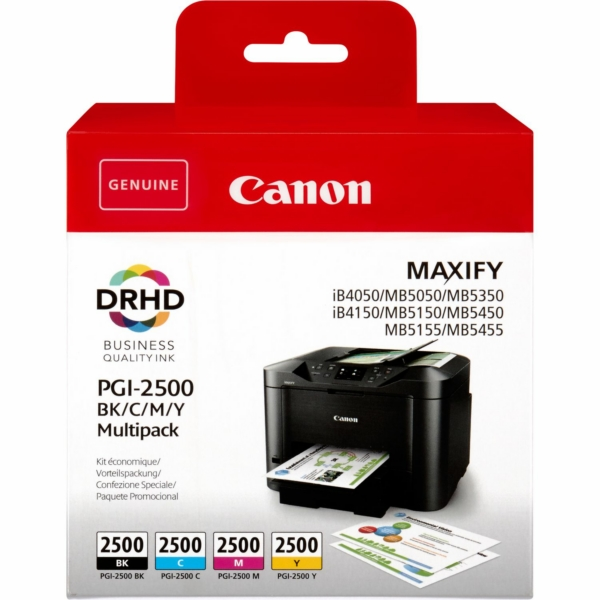 Canon 9290B004 (PGI-2500 BKCMY) Ink cartridge multi pack, 29,1ml + 3 x 9,6ml, Pack qty 4