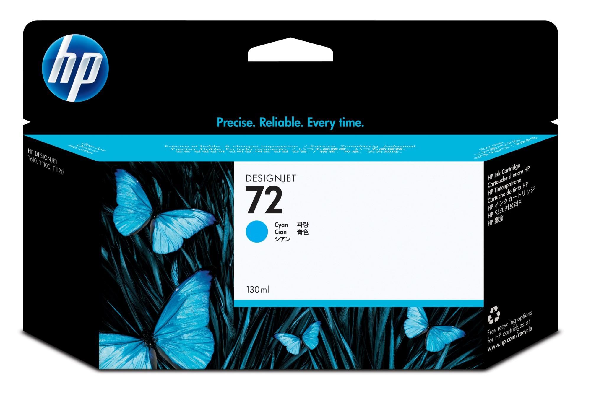 HP Cartucho de tinta ciano 72 DesignJet 130 ml Original Cian 1 pieza(s) Alto rendimiento (XL)