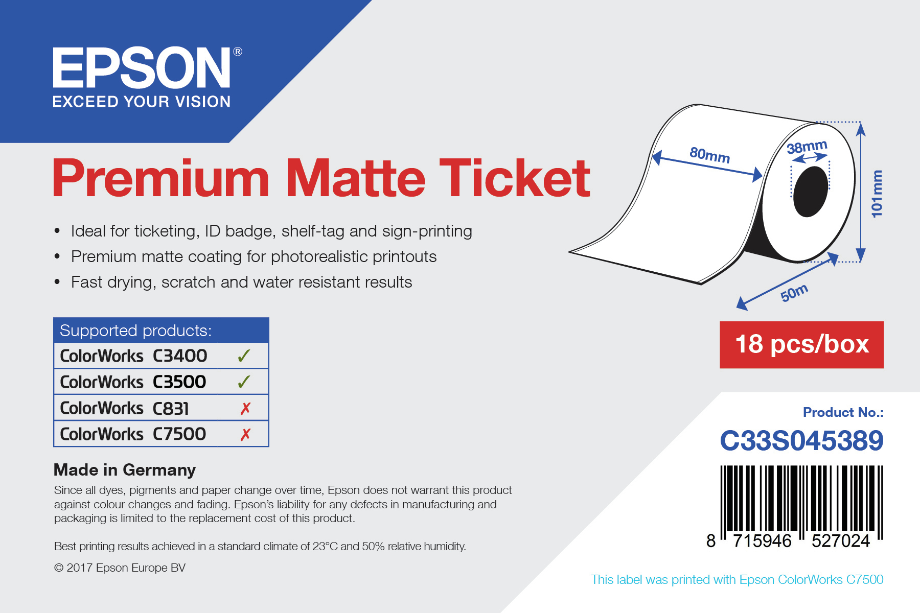 Epson Premium Matte Ticket - Roll: 80mm x 50m