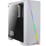 Aerocool Cylon Mid Tower 1 x USB 3.0 / 2 x USB 2.0 Tempered Glass Side Window Panel White Case with RGB LED I