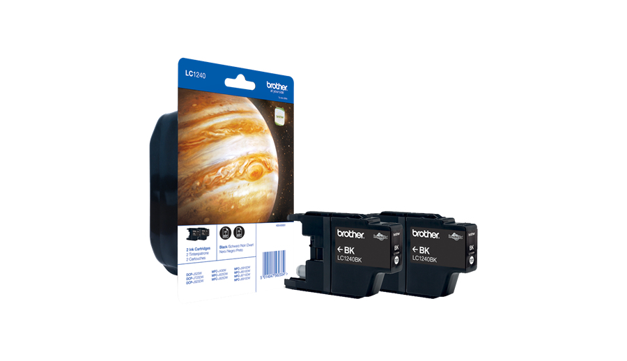 Brother LC-1240BKBP2DR Ink cartridge black, 600 pages, Pack qty 2