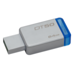 Kingston Technology DataTraveler 50 64GB USB flash drive 3.0 (3.1 Gen 1) USB Type-A connector Blue, Silver