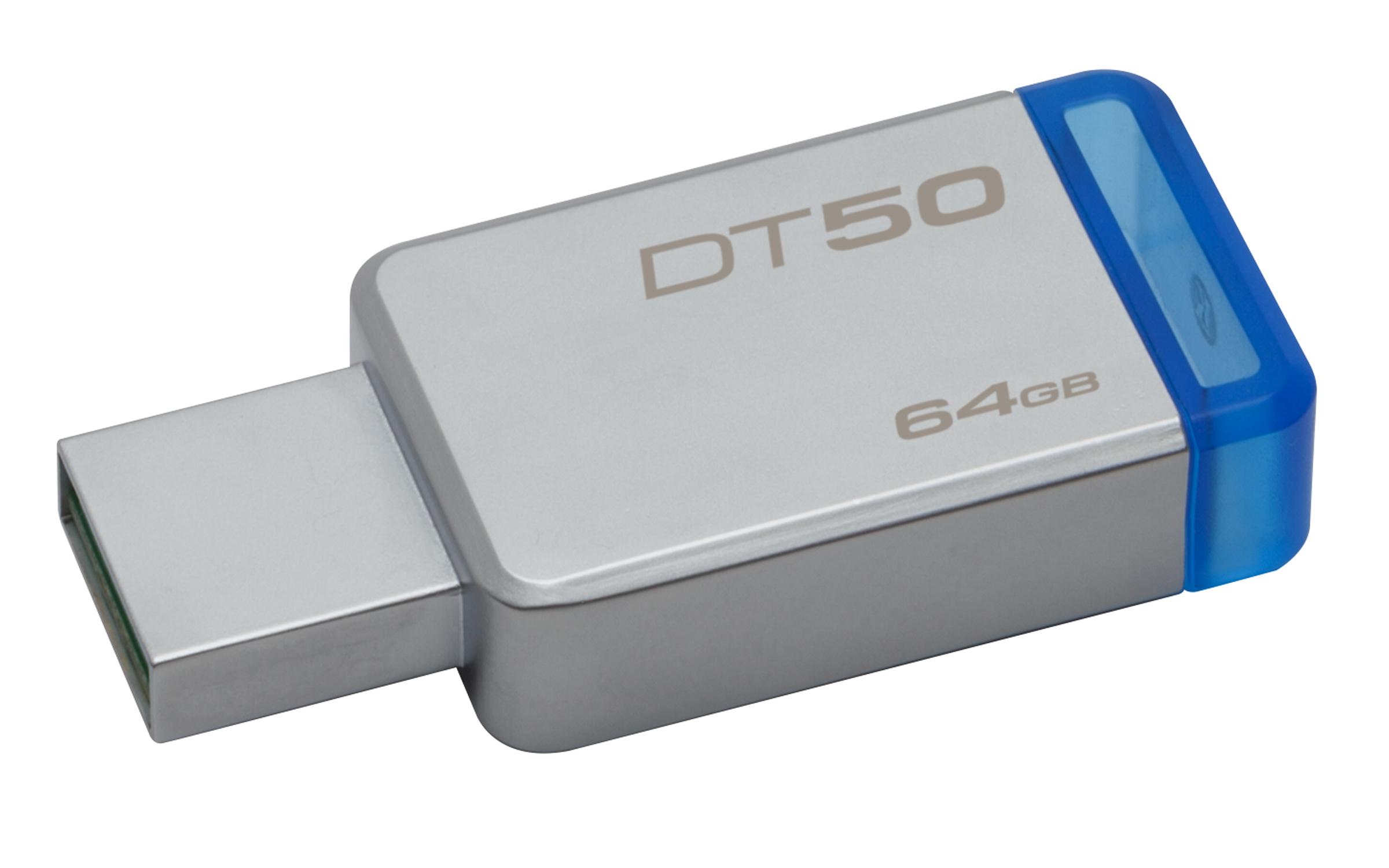 Kingston Technology DataTraveler 50 64GB 64GB USB 3.0 (3.1 Gen 1) Type-A Blue,Silver USB flash drive