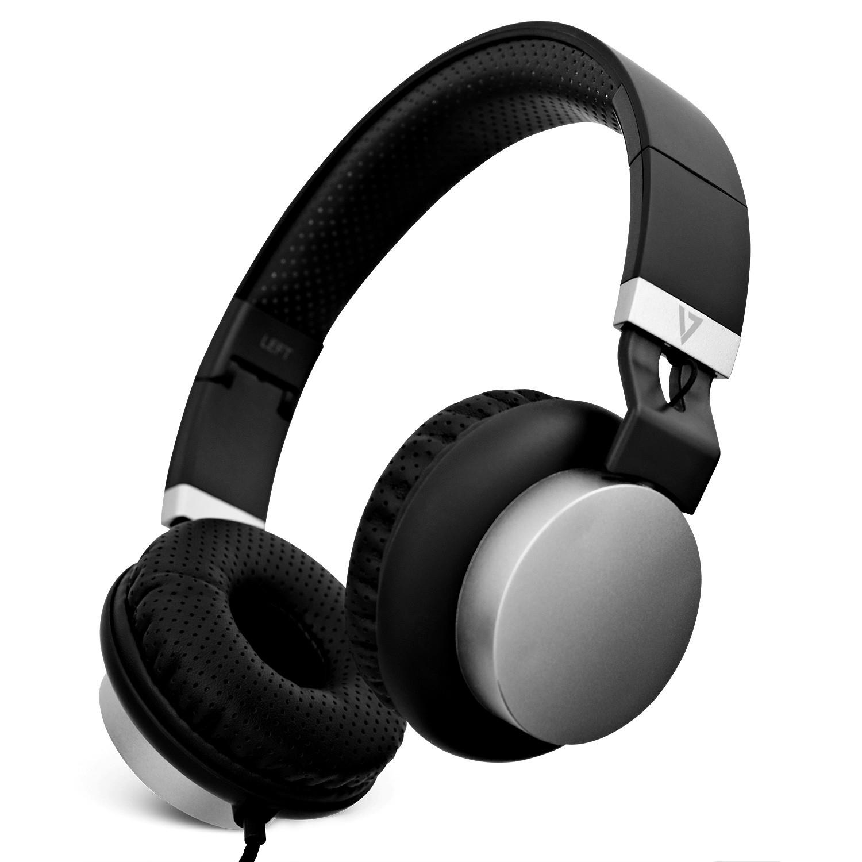 V7 HA601-3EP koptelefoon Circumaural Hoofdband Zwart, Zilver