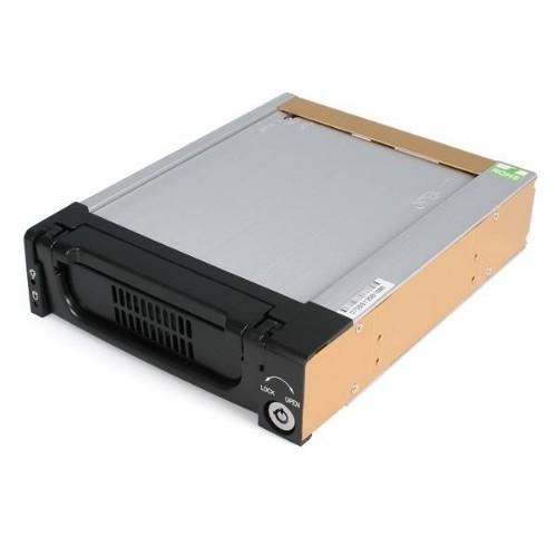 StarTech.com Black Aluminum 5.25in Rugged SATA Hard Drive Mobile Rack Drawer