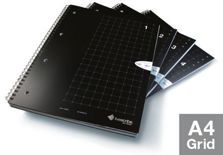 Livescribe A4 Grid Notebook, 4-Pack writing notebook 80 sheets Black