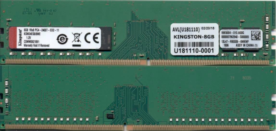 Kingston Technology KSM24ES8/8ME módulo de memoria 8 GB DDR4 2400 MHz ECC