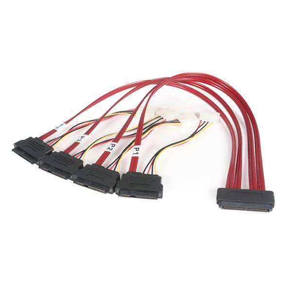 StarTech.com 50cm Serial Attached SCSI SAS Cable – SFF-8484 to 4x SFF-8482 with LP4 Power