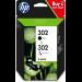 HP Paquete de ahorro de 2 cartuchos de tinta original 302 negro/tricolor