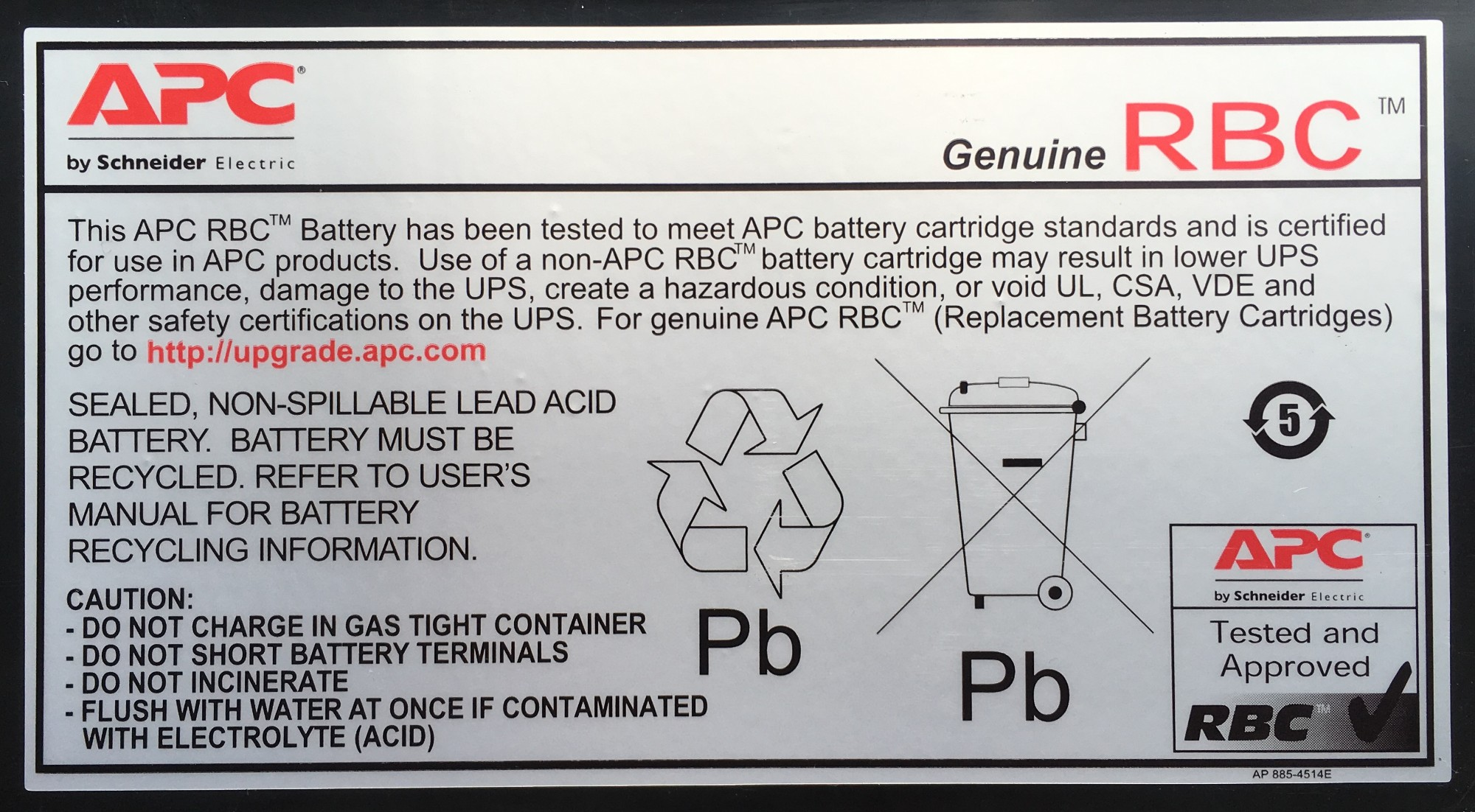 Apc Replacement Battery Cartridge 32 Sealed Lead Acid Vrla Diagram Rechargeable