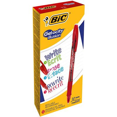 BIC Gel-ocity illusion Capped gel pen Red 12 pc(s)