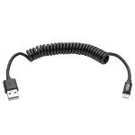 Tripp Lite USB Sync / Charge Coiled Cable with Lightning Connector iPhone iPad (M/M), Black, 1.22 m (4-ft.)