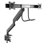 "StarTech.com Desk Mount Dual Monitor Arm - Ergonomic Dual Monitor VESA Mount 32"" (17.6lb) Displays - Crossbar Handle for Synchronized Full Motion - Height Adjustable - C-Clamp/Grommet"