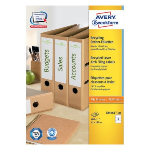 Avery LR4761-100 self-adhesive label Rounded rectangle Permanent White 400 pc(s)