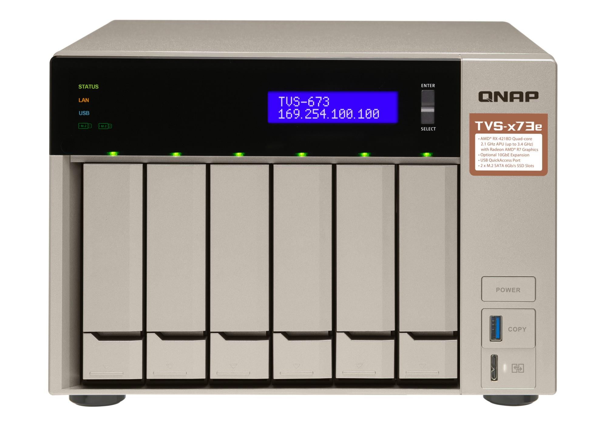 QNAP TVS-673E RX-421BD Ethernet Tower Gris NAS